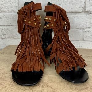 Giuseppe Zanotti Shoes - Giuseppe Zanotti Studded Suede Fringe Flat Sandals
